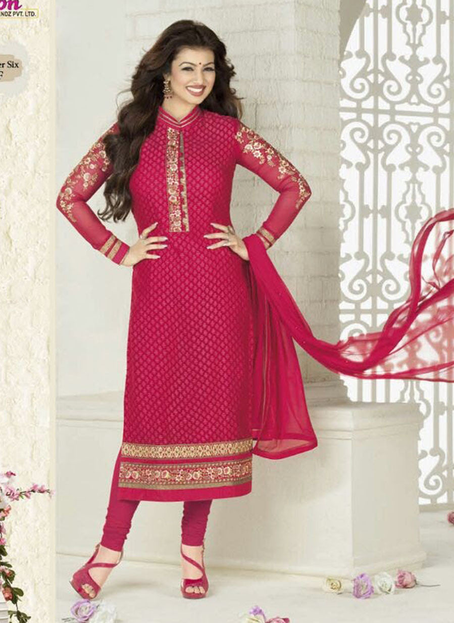 Avon F Red Color Georgette Designer Suit