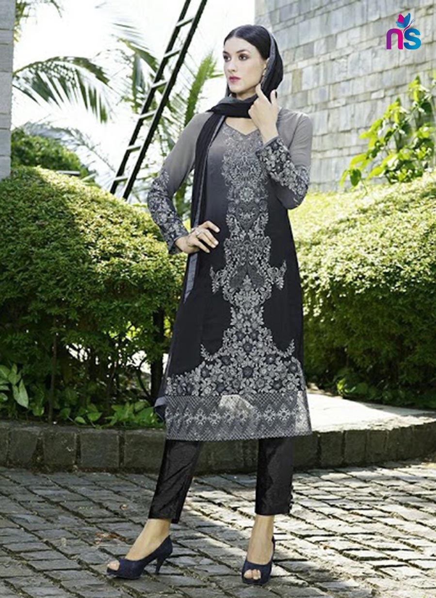 NS11510 Grey and Black Party Wear Faux Georgette Pakistani Suit