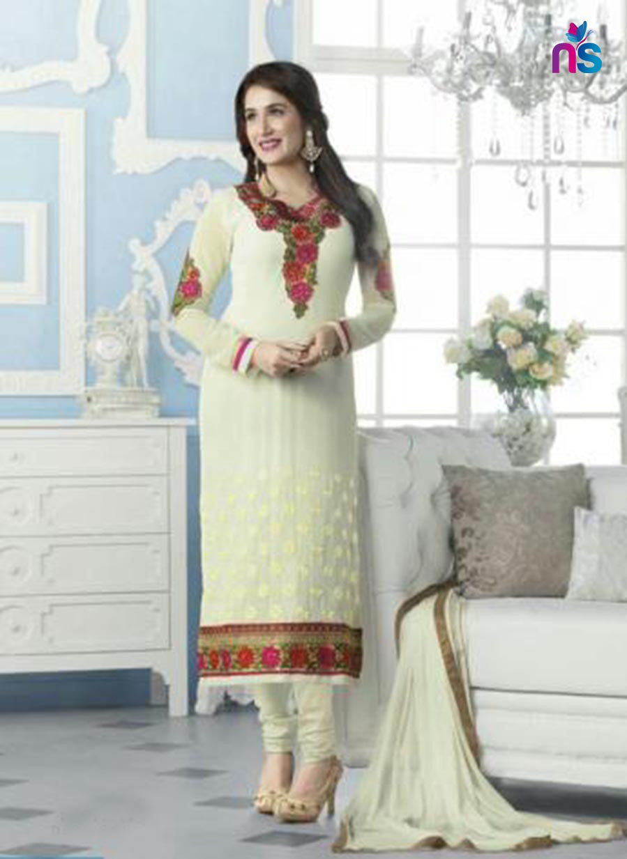 NS11534 OffWhite Party Wear faux Georgette Straight Suit