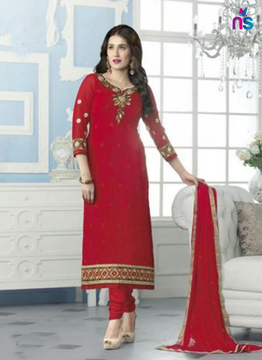 NS11535 Red Party Wear faux Georgette Straight Suit