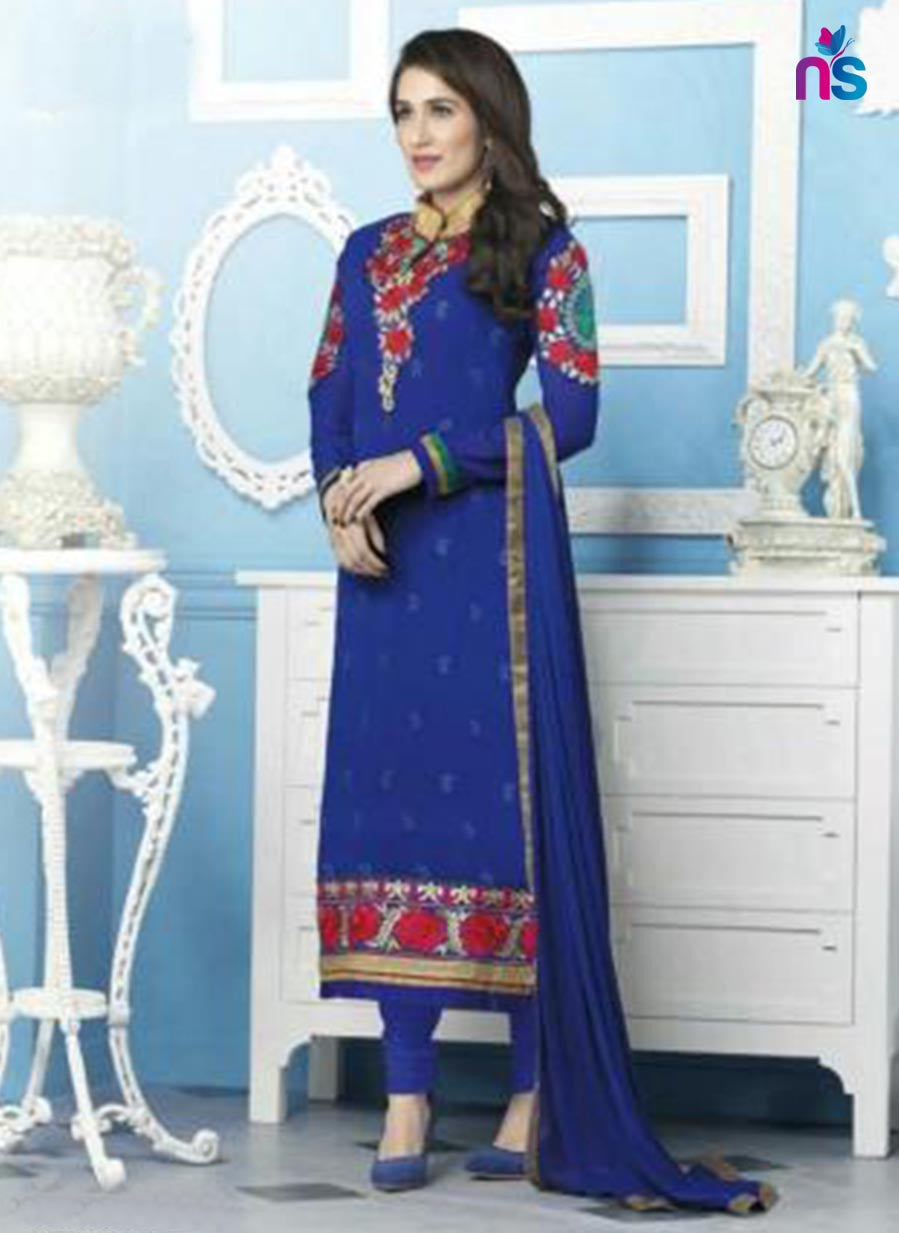 NS11537 NavyBlue Party Wear faux Georgette Straight Suit