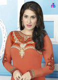 NS11538 Orange Party Wear faux Georgette Straight Suit
