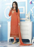 NS11538 Red Party Wear faux Georgette Straight Suit