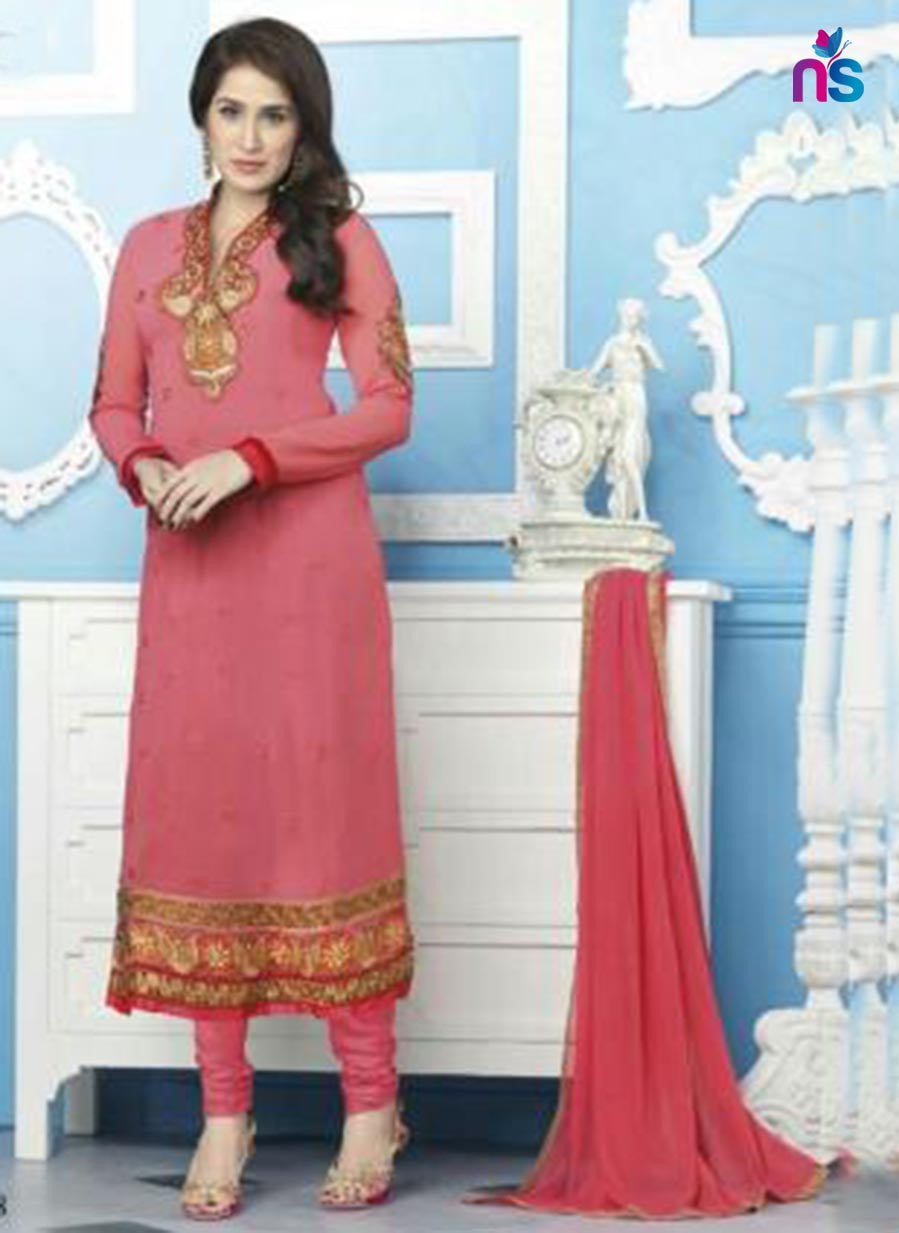 NS11540 Pink Party Wear faux Georgette Straight Suit