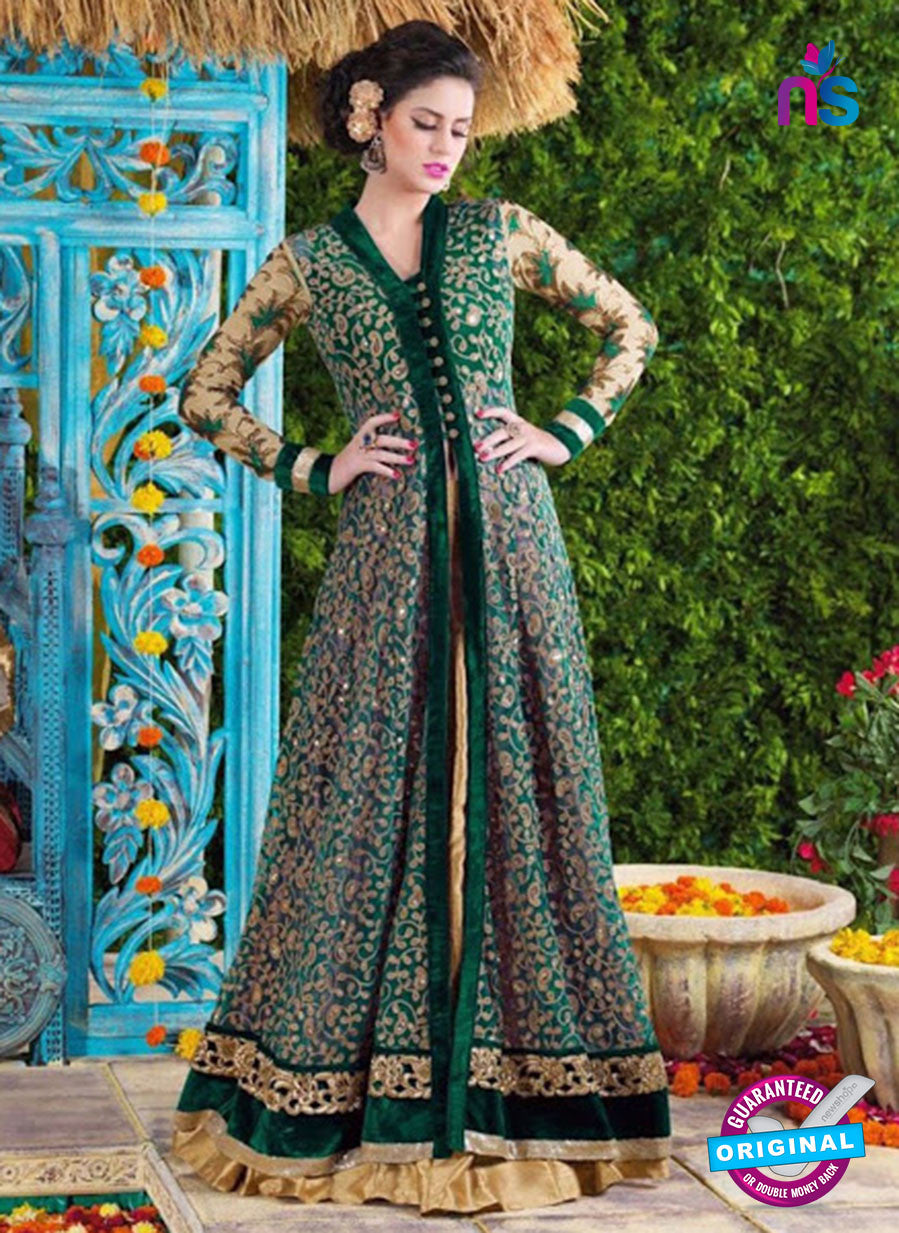 SC 12425  Green and Beige Embroidered Net Party Wear Designer Suit