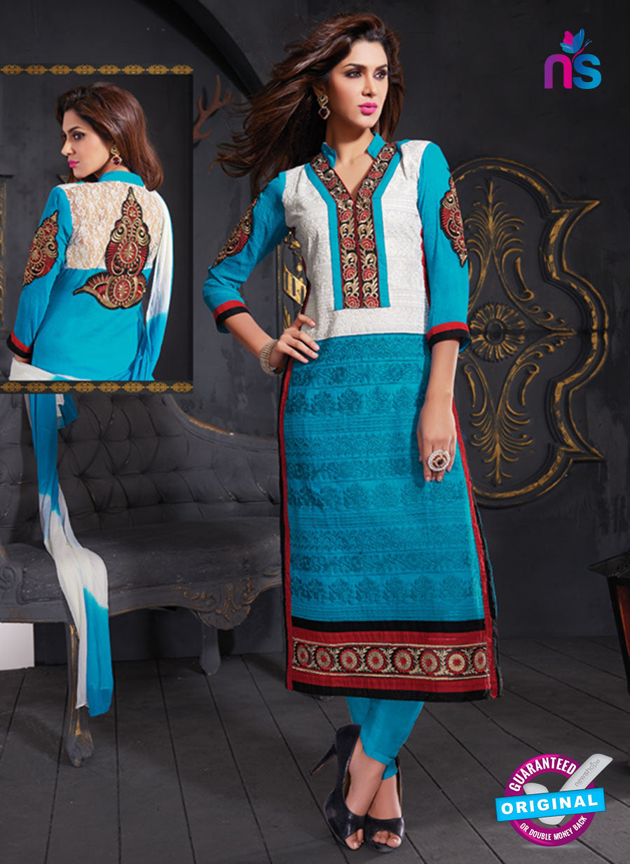 NS10629 Blue and Ivory Cotton Straight suit