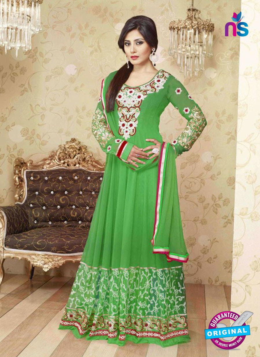 SC 12377 Green and Multicolor Embroidered Georgette Party Wear Anarkali Suit