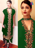 SC 12452  Green and Golden Party Wear Georgette Designer Replica Suit