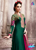 SC 13540 Green and Pink Embroidered Georgette Designer Semi Stitched Party Wear Straight Suit
