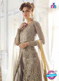 SC 13261 Beige Embroidered Net Heavy Handwork and Backwork Party Wear Designer Suit