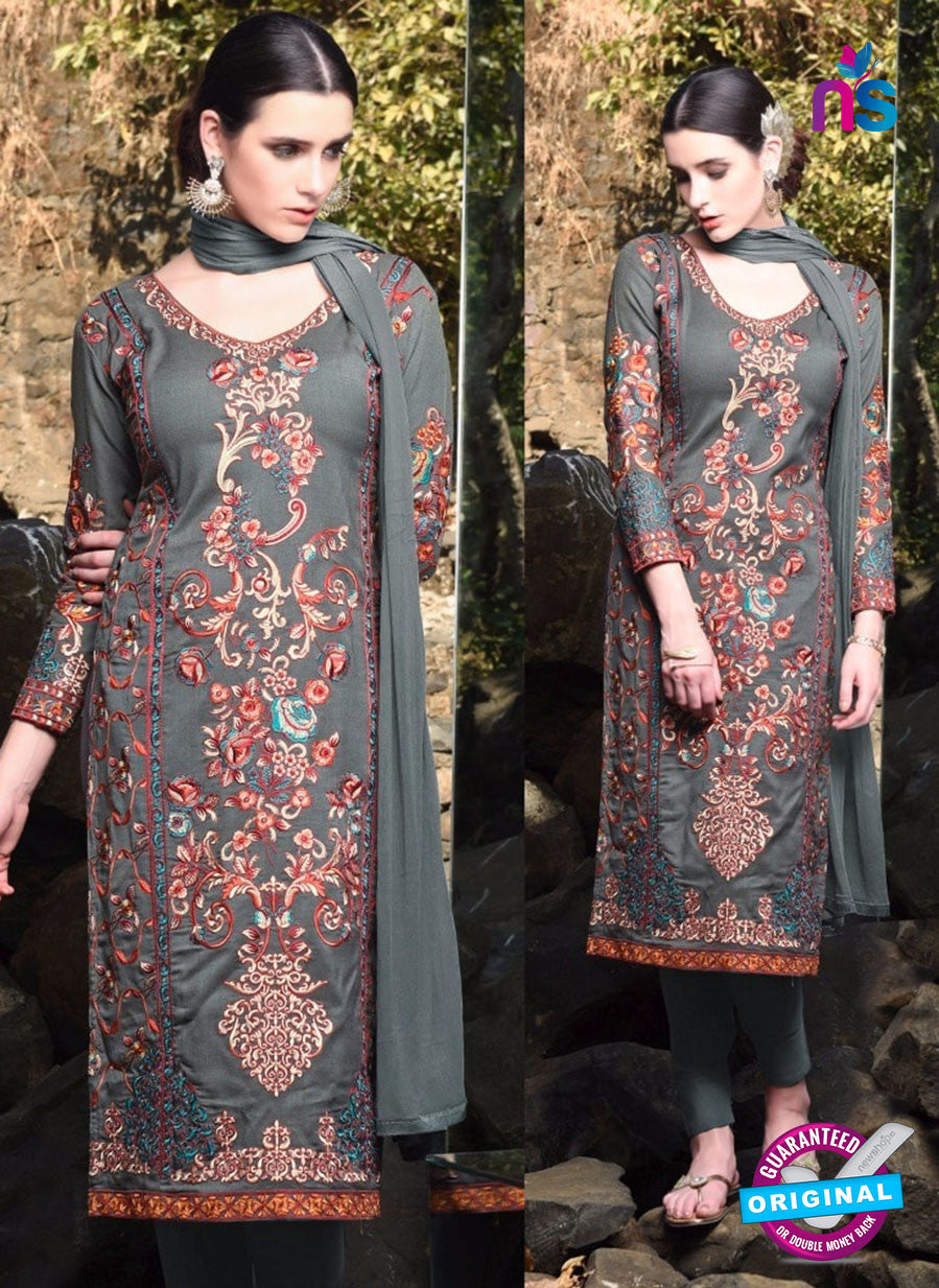 SC 12921 Grey, Red and Beige Faux Georgette Party Wear Straight Suit