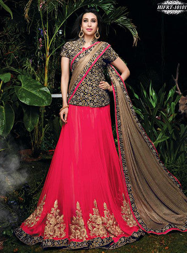 NS10488   Pink & Black Color Glace Net Lycra Designer Saree