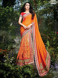 NS10489 Orange Color Net Chinon Designer Saree