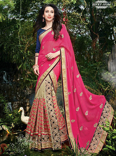 NS10491  Pink Color Net Georgette Designer Saree