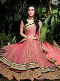 NS10494  Peach Color Net Chinon Designer Saree