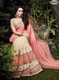 NS10497 Peach Color Net Georgette Designer Saree