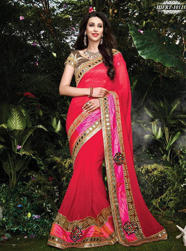 NS10498 Red Color Georgette Designer Saree