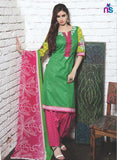 NS11338 Green and Pink Cotton Satin Pakistani Suit