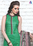 NS11340 Green Cotton Satin Pakistani Suit