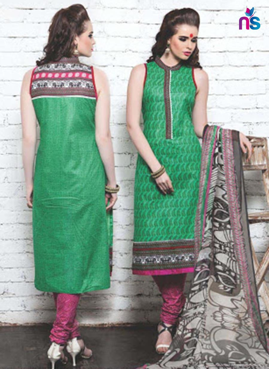 NS11340 Green and DarkPink Cotton Satin Pakistani Suit