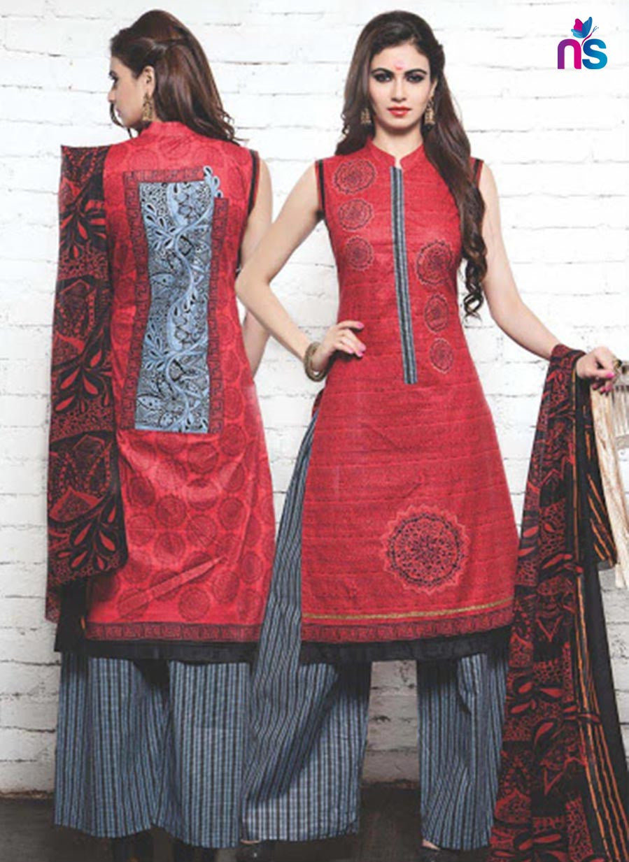 NS11343 Red and Black Cotton Satin Pakistani Suit