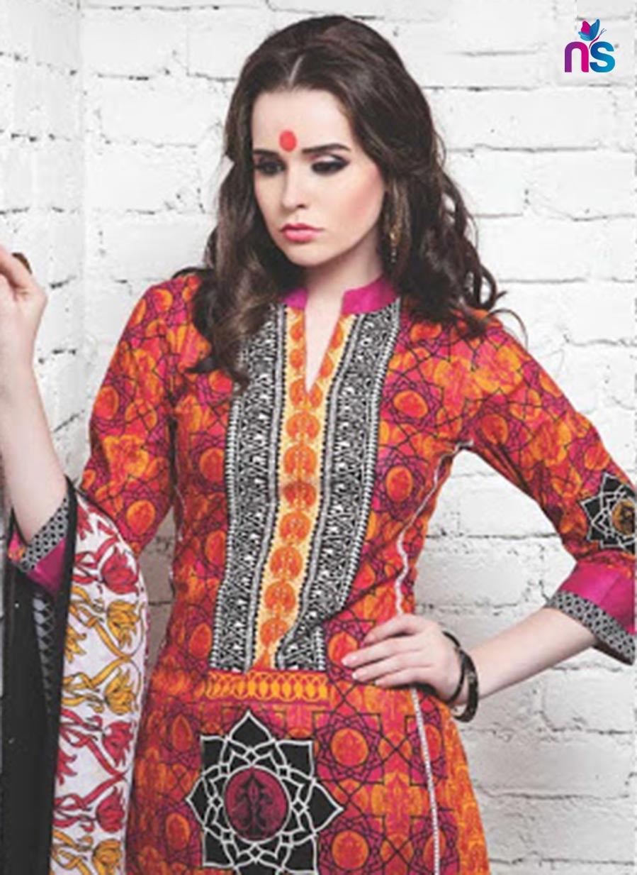NS11345 Pink Red and Yellow Cotton Satin Pakistani Suit