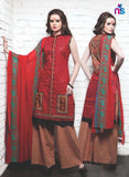 NS11346 Red and Brown Cotton Satin Pakistani Suit