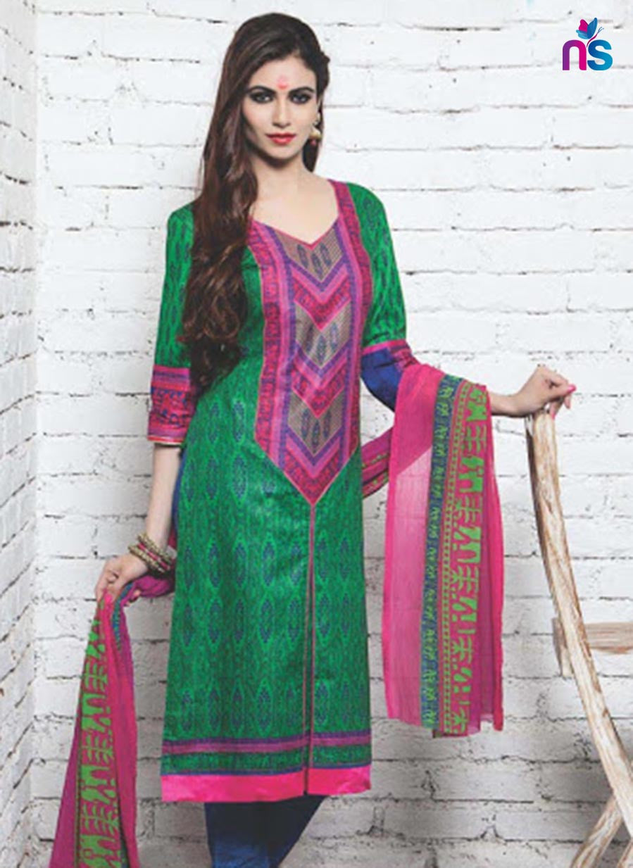 NS11347 Pink and Green Cotton Satin Pakistani Suit