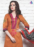 NS11348 Orange Red DarkPink Cotton Satin Pakistani Suit Online
