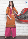 NS11348 Orange Red DarkPink Cotton Satin Pakistani Suit