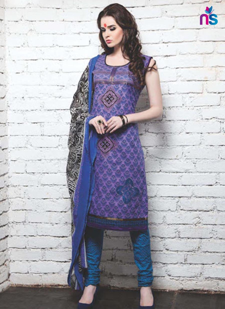 NS11359 Violet and DarkSkyBlue Cotton Satin Pakistani Suit