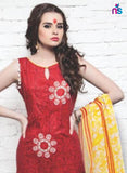 NS11383 Red Cotton Satin Pakistani Suit