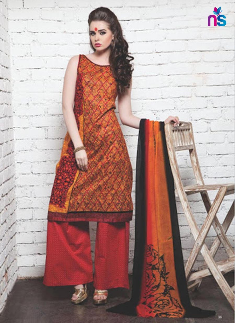 NS11414 Orange and Red Satin Pakistani Suit