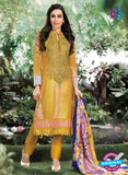 NS10667 Turmeric Yellow Printed Cambric Cotton Designer Straight Suit