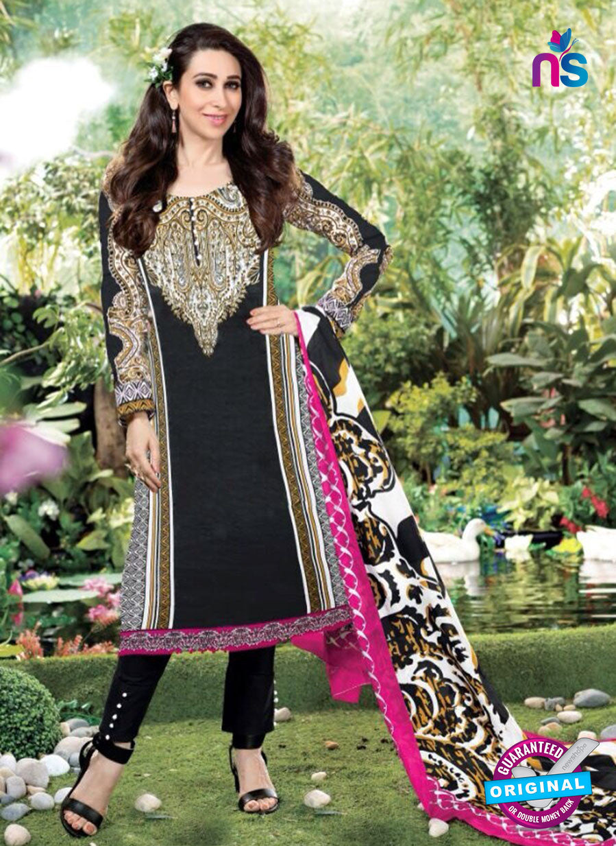 NS10668 Black and White Printed Cambric Cotton Designer Straight Suit