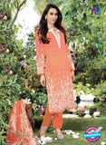 NS10669 Red and White Printed Cambric Cotton Designer Straight Suit