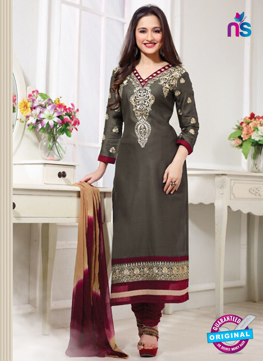 NS 12008 Black and  Red Designer Straight Suit