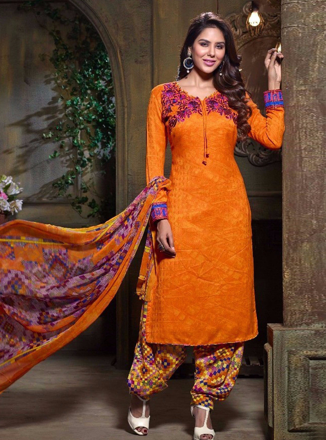 NS11270  Orange Color Pashmina Salwar Suit