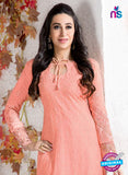 NS10740 Peach Georgette Party Wear Straight Suit