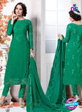NS10741 Forest Green Georgette Party Wear Straight Suit