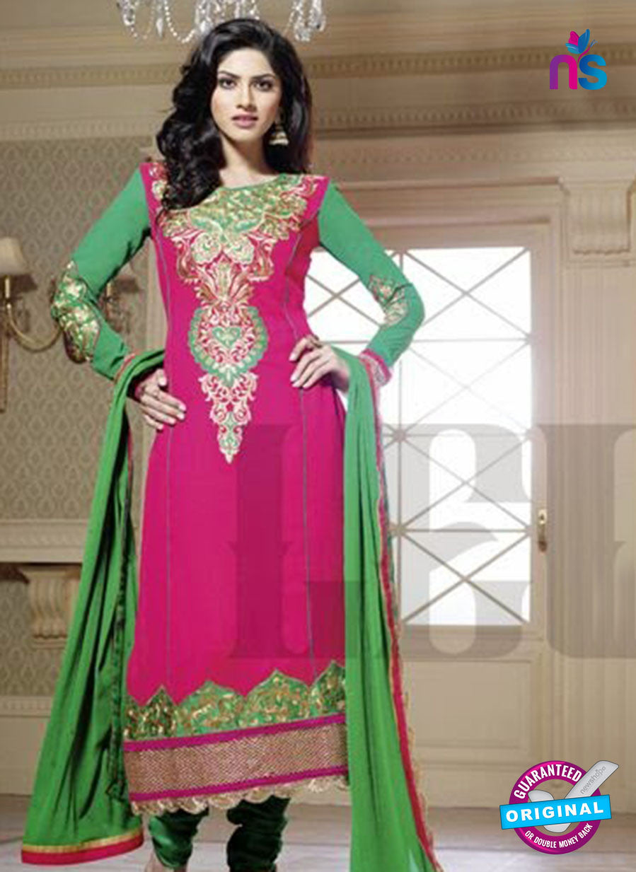 NS10033 Magenta and Green Party Wear Georgette Straight Suit