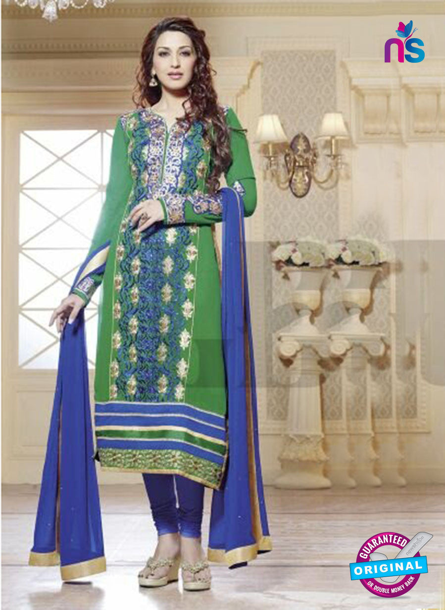NS10032 Royal Blue and Green Party Wear Georgette Straight Suit
