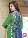 NS10032 Green and Royal Blue Party Wear Georgette Straight Suit Online