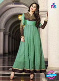 NS10882 B Black and Green Georgette Anarkali Suit