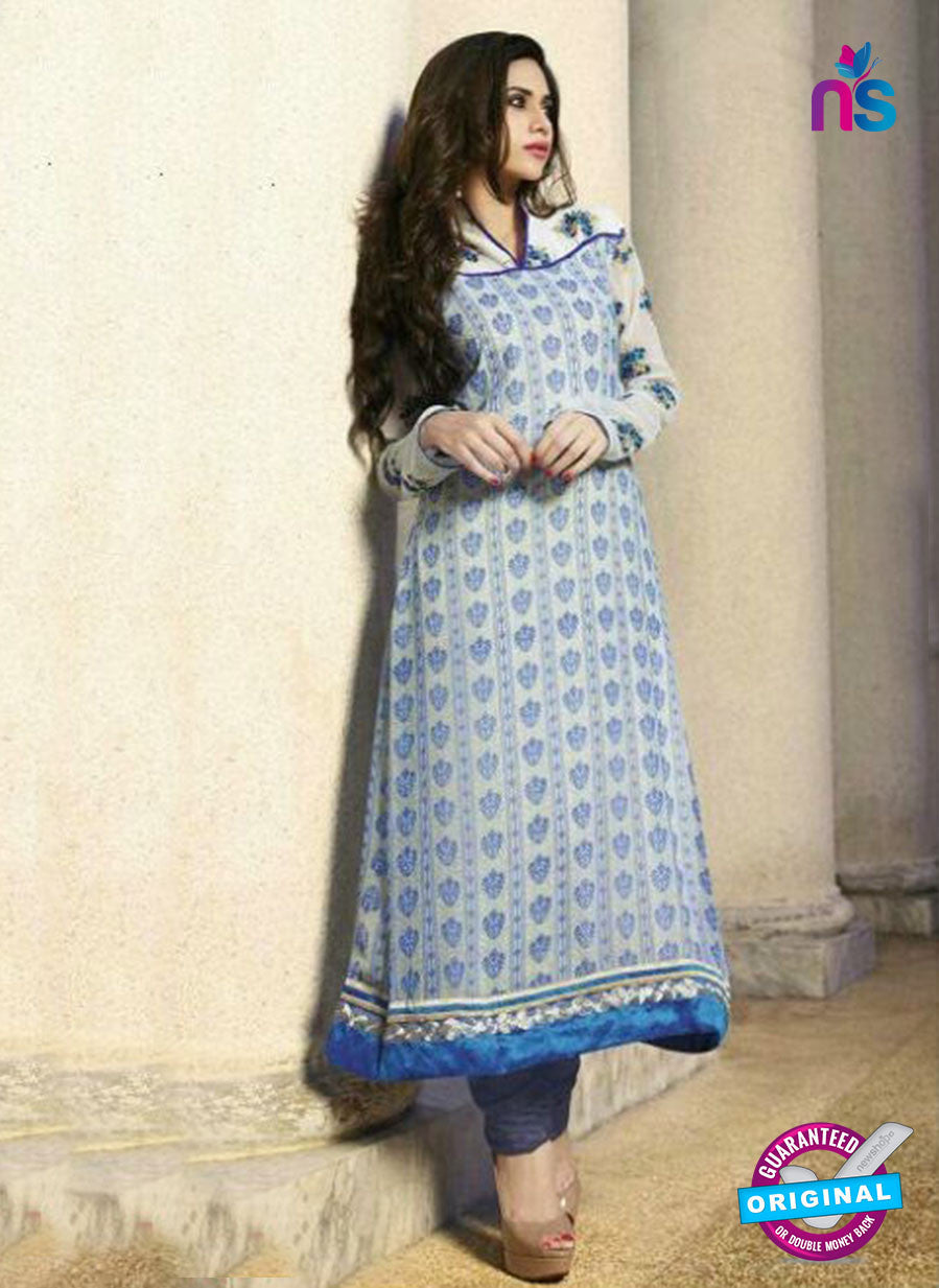 NS10883 A Cream and Blue Georgette Straight Suit