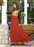 NS10876 Black and Red Georgette Anarkali Suit