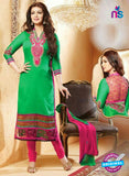 NS10188 Green and Pink Casual Glace Cotton Straight Suit