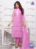 NS10308 Purple and White Pure Chiffon Designer Straight Suit