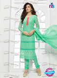 NS10310 Green and Red Pure Chiffon Designer Straight Suit