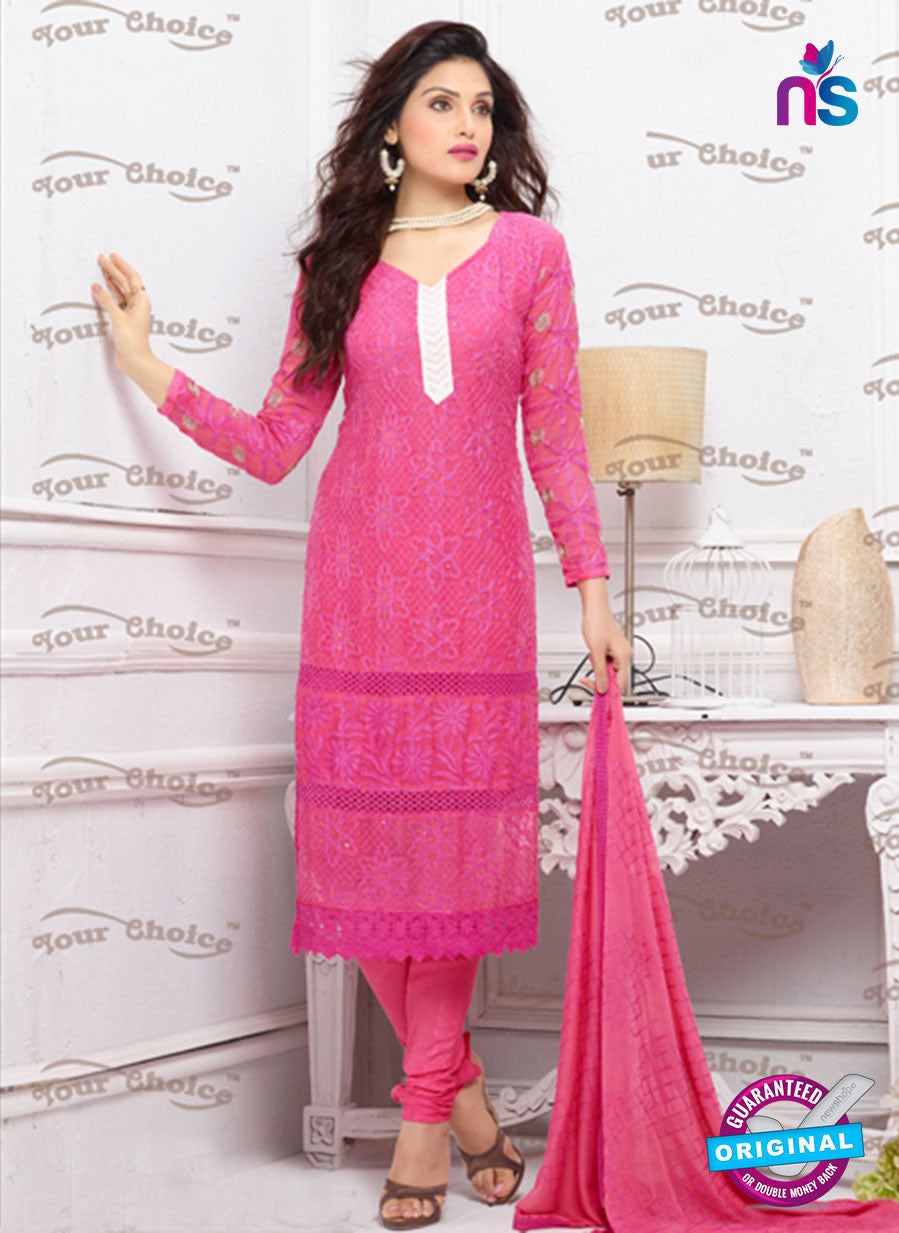 NS10309 Pink and White Pure Chiffon Designer Straight Suit